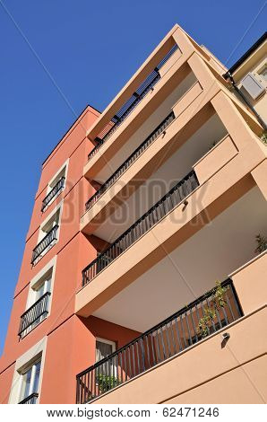 Residential building with blue sky