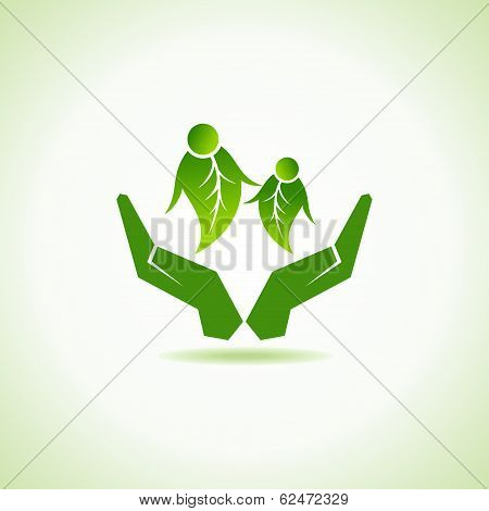 eco-friendly couple under hand concept