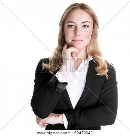 Confident business woman isolated on white background, CEO of great corporate, luxury career, successful people concept poster