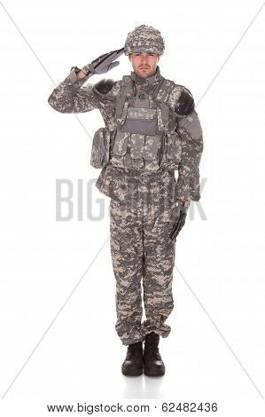 Portrait Of Man In Military Uniform Saluting
