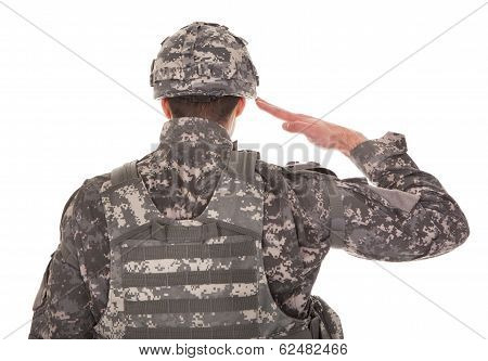 Man In Military Uniform Saluting Over White Background poster