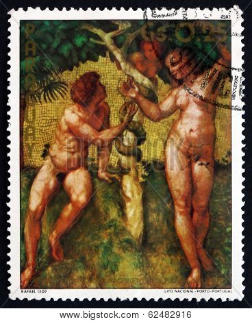 Postage Stamp Paraguay 1982 Adam And Eve, By Raphael