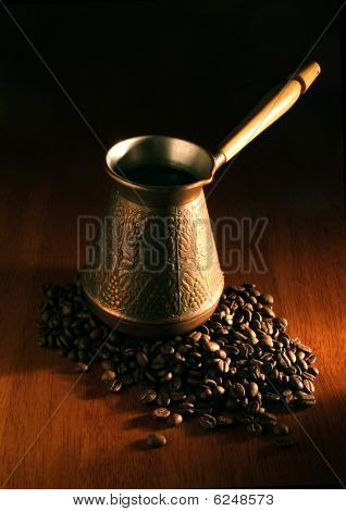 cezva and coffee beans