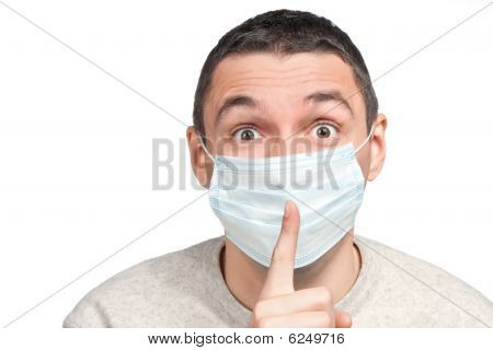 Scared Man Silence Sign  In Protective Mask