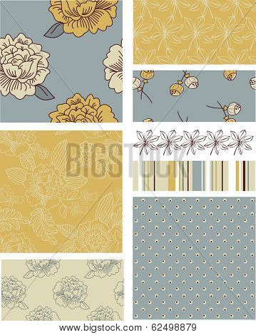 Modern Blossom Floral Vector Seamless Patterns. Use as fills, digital paper, or print off onto fabric to create unique items.