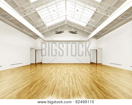 Commercial empty gallery interior with hard wood floors and skylights. Photo realistic 3d rendered i
