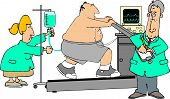 This illustration depicts a man on a treadmill doing a stress test with a doctor and nurse observing him. poster