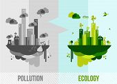 Go green environment illustration. Ecology and pollution city concept. EPS10 vector organized in layers for easy editing. poster
