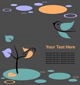 autumn tree and birds, sun and clouds (vector) poster