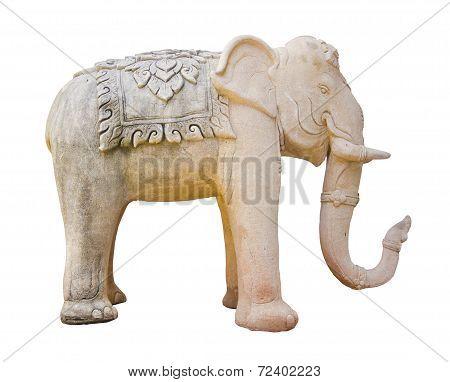 Elephant Sculpture Isolated On White Background