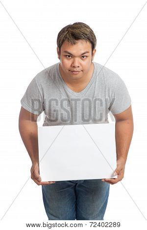Asian Man  Hold A Blank Sign And Bow His Head