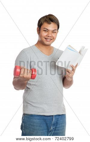Happy Asian Man Hold  Book And Red Dumbbell