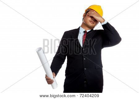 Asian Engineer Man In Bad Mood And Facepalm