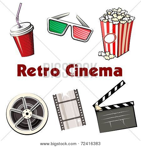 Set of colored Retro Cinema icons
