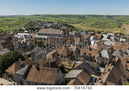 Vineyards And City Of Sancerre