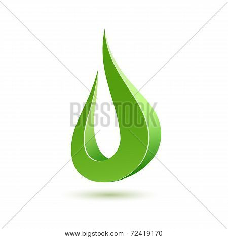 Abstract green drop icon