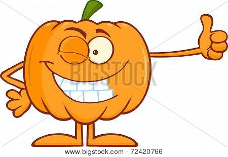 Winking Halloween Pumpkin Character Giving A Thumb Up