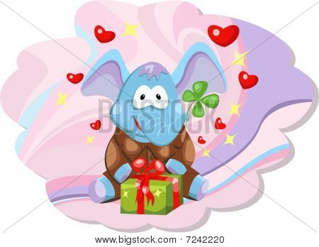 Pretty elephant with gift and hearts ??n background poster