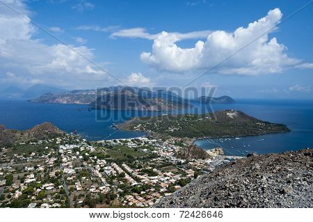 LIpari coast from Vulcano, Eolie Islands, Sicily, Italy