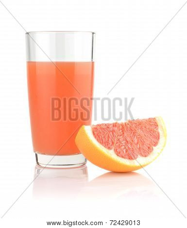 Studio Shot Of Grapefruit Juice And Quarter Isolated On White