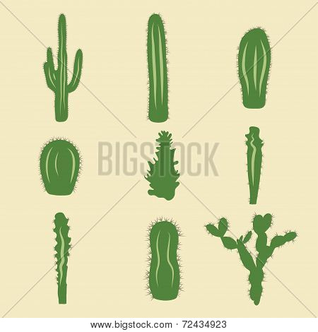 Stock vector set of cactus icons