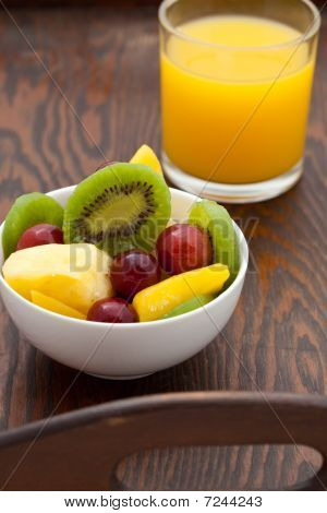 Healthy Breakfast Of Fruit Salad And Orange Juice
