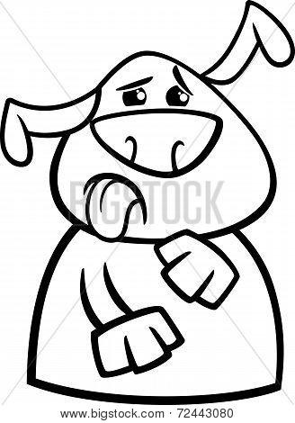 Dog Yuck Face Cartoon Coloring Page