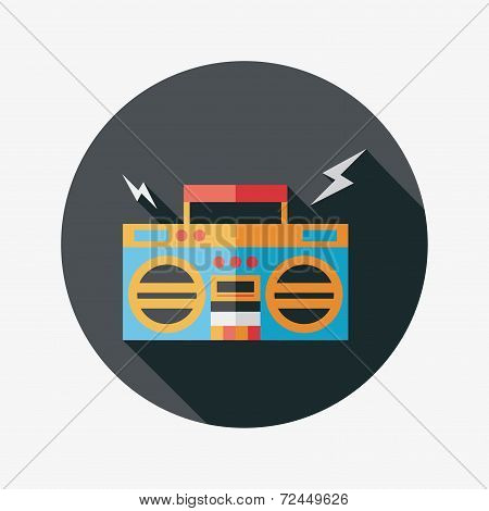Ghetto Blaster Audio Flat Icon With Long Shadow,eps10, Design elements for mobile and web applications, stylish colors of vector illustration. poster