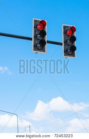 Image Of Traffic Light, The Red Light Is Lit. Symbolic  For Holding