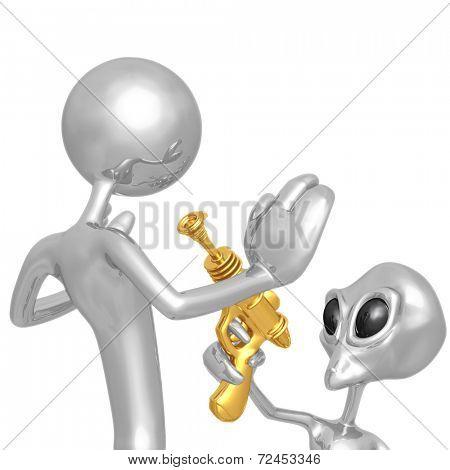Alien Invader With Retro Raygun