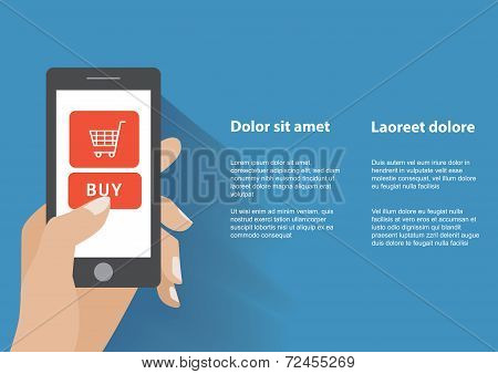 Hand holing smart phone with buy button on the screen