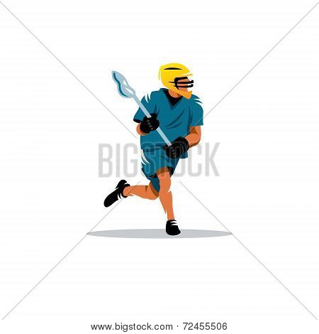 Lacrosse Player in yellow helmet isolated on white background poster