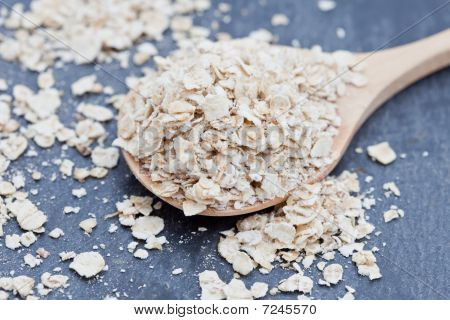 Porridge Oats On A Wooden Spoon