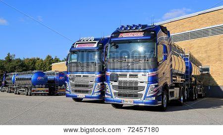New Volvo FH Tank Trucks On A Yard