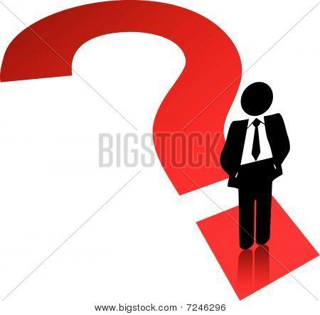 Fragezeichen-Symbol-Business-Mann-Suche Lösung finden