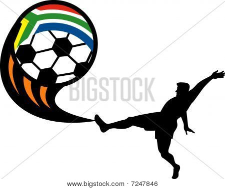 2010 soccer with player kicking ball with flag