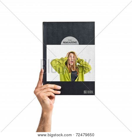 Young Girl Doing Surprise Gesture Printed On Book
