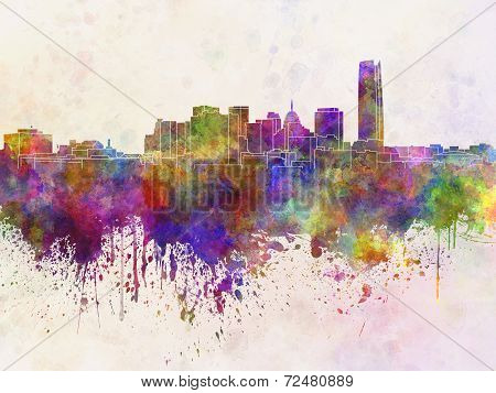 Oklahoma City Skyline In Watercolor Background