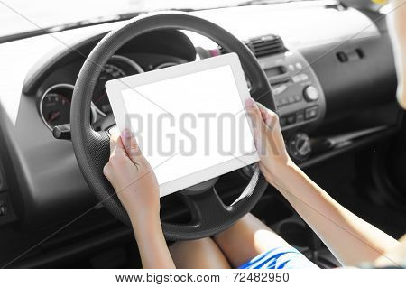 Car Driver With Tablet Pc