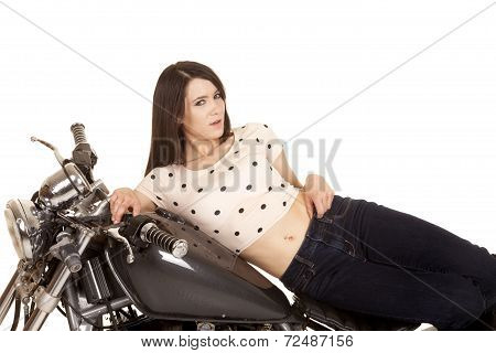 Woman On Side On Motorcycle Gas Tank