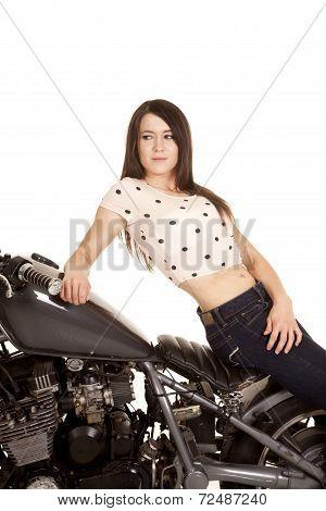 Woman Sit Backwards On Motorcycle Sit Look Back
