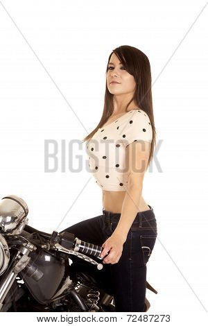 Woman Stand On Motorcycle Look One Hand On Handle