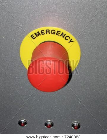 Red power Button On Metallic Surface, industrial Security Concept