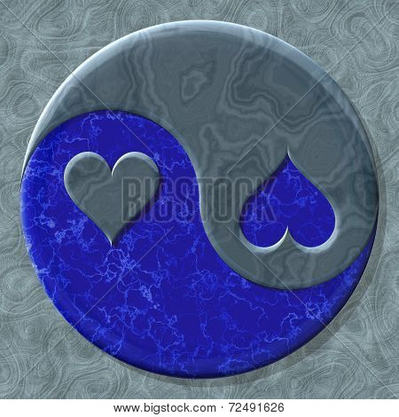 Yin-yang heart symbol with seamless generated texture background poster