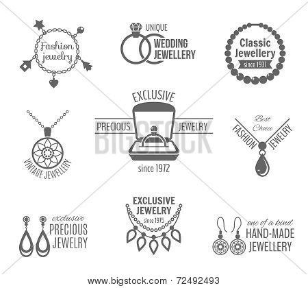 Jewelry black label set of unique classic vintage jewellery isolated vector illustration poster
