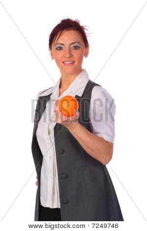 Elegant Smiling Businesswoman Wearing A Vest Holding A Stressball, Isolated On White