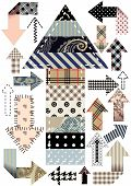 Set of arrows, quilting design in patchwork style poster