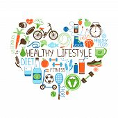 Healthy Lifestyle  Diet and Fitness vector sign in the shape of a heart with multiple icons depicting various sports  vegetables  cereals  seafood  meat  fruit  sleep  weight and beverages poster