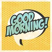 good morning pop art background illustration in vector format poster