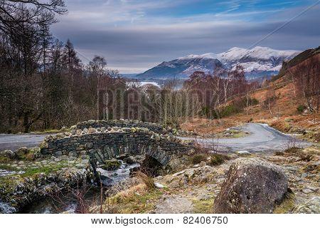 Ashness Bridge And Skiddaw In Winter